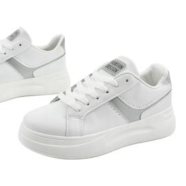 White eco-leather sneakers LLQ206-26 grey 1