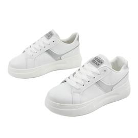White eco-leather sneakers LLQ206-26 grey 2
