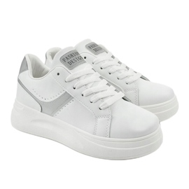 White eco-leather sneakers LLQ206-26 grey 3