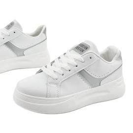 White eco-leather sneakers LLQ206-26 grey 4