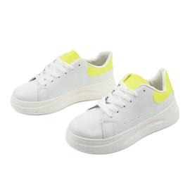 White shiny sneakers LLQ204-10 yellow 3