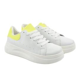 White shiny sneakers LLQ204-10 yellow 2