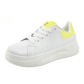 White shiny sneakers LLQ204-10 yellow 4