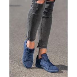 SHELOVET Navy blue suede sneakers 5