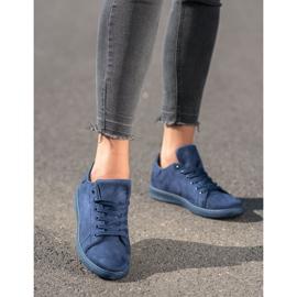 SHELOVET Navy blue suede sneakers 4