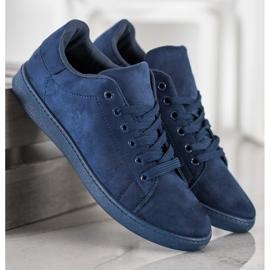 SHELOVET Navy blue suede sneakers 1