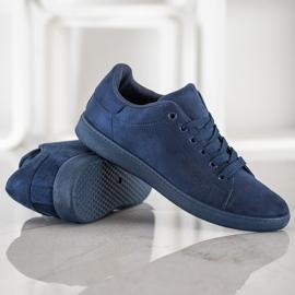SHELOVET Navy blue suede sneakers 2