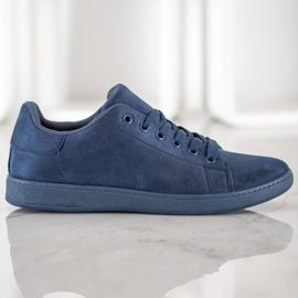 SHELOVET Navy blue suede sneakers 3