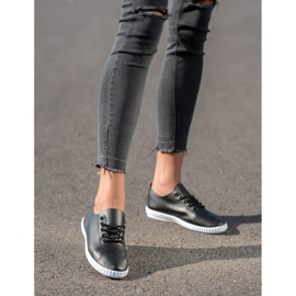 SHELOVET Black Sneakers With Eco Leather 1