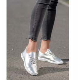 SHELOVET Silver Sneakers With Eco Leather 1