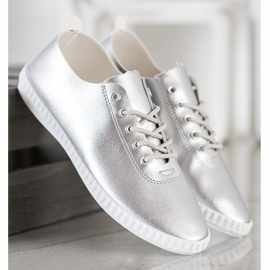 SHELOVET Silver Sneakers With Eco Leather 2