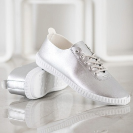 SHELOVET Silver Sneakers With Eco Leather 3