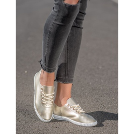 SHELOVET Golden Sneakers With Eco Leather 1
