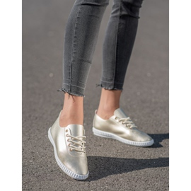 SHELOVET Golden Sneakers With Eco Leather 5