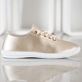 SHELOVET Golden Sneakers With Eco Leather 2