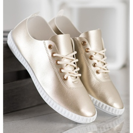 SHELOVET Golden Sneakers With Eco Leather 4