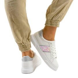 Classic white sneakers BK929-19 silver 3