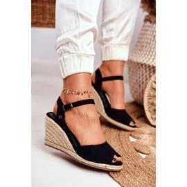 Women's Sandals On A Braided Wedge Big Star Black DD274A209 3