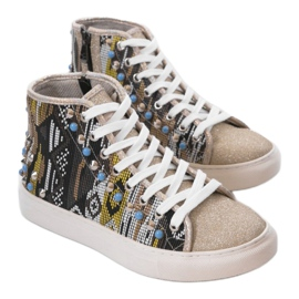 Golden high sneakers richly decorated D17-27027 grey multicolored 1