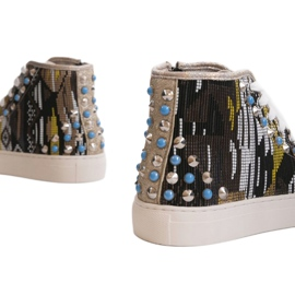 Golden high sneakers richly decorated D17-27027 grey multicolored 3
