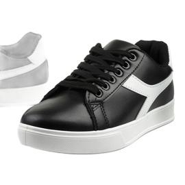 Stylish black women's sneakers LV99P-1 white 1