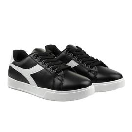 Stylish black women's sneakers LV99P-1 white 3