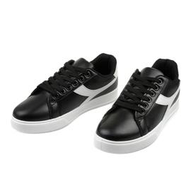 Stylish black women's sneakers LV99P-1 white 2