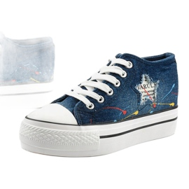 Navy blue sneakers with laced wedges Mirarenna 1