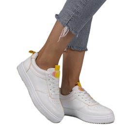 White sneakers with yellow inserts KK-203 1