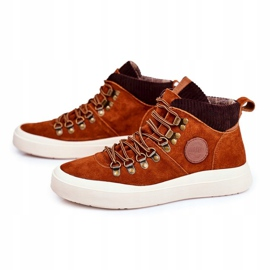 Men's Leather Sneakers Big Star Camel GG174332 brown multicolored 4