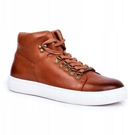 Men's Leather Sneakers GOE Brown GG1N3011 1