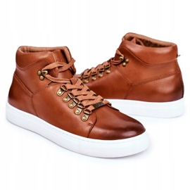 Men's Leather Sneakers GOE Brown GG1N3011 3