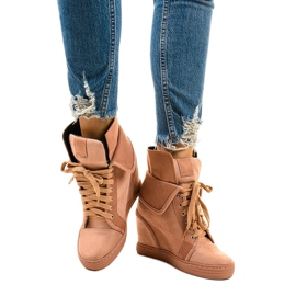 Pink sneakers with lace-up wedges B12-22 1