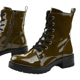 Green lacquered Slider boots 1