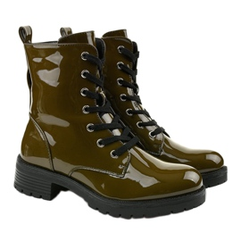 Green lacquered Slider boots 3