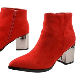 Red ankle boots made of Astihusa eco-suede 1