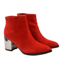 Red ankle boots made of Astihusa eco-suede 3