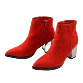 Red ankle boots made of Astihusa eco-suede 2