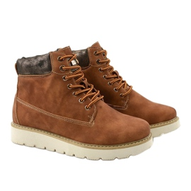 Camel lace-up boots Haireino brown 3
