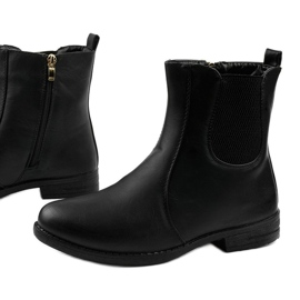 Black flat ankle boots with an elastic band and Trini zipper 1