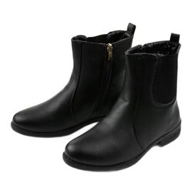 Black flat ankle boots with an elastic band and Trini zipper 3