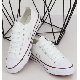 White classic women's sneakers JD05P WHITE / RED 3