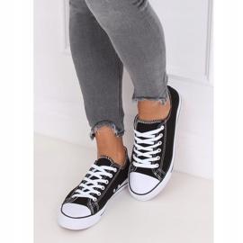 Classic black women's sneakers JD05 BLACK / WHITE 2