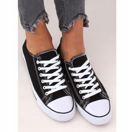 Classic black women's sneakers JD05 BLACK / WHITE 1
