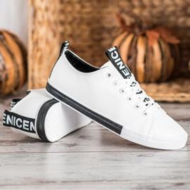 SHELOVET Eco Leather Sneakers white black 2