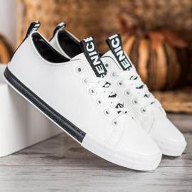 SHELOVET Eco Leather Sneakers white black 3