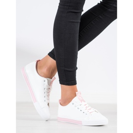 SHELOVET Eco Leather Sneakers white pink 1