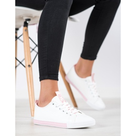 SHELOVET Eco Leather Sneakers white pink 2