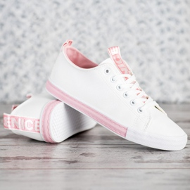 SHELOVET Eco Leather Sneakers white pink 3