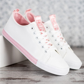SHELOVET Eco Leather Sneakers white pink 4